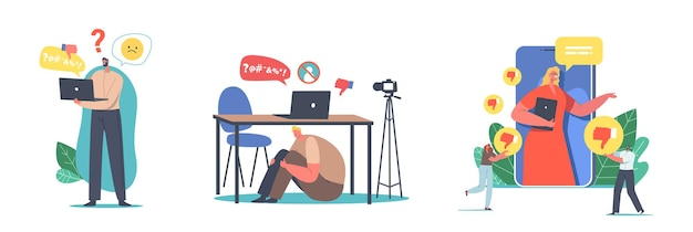 Set of male and female characters social hate, bullying concept. people front of computer screen bullied and called nasty names over internet isolated on white background. cartoon vector illustration