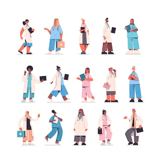 Set male female doctors in uniform mix race medical workers collection healthcare medicine concept isolated