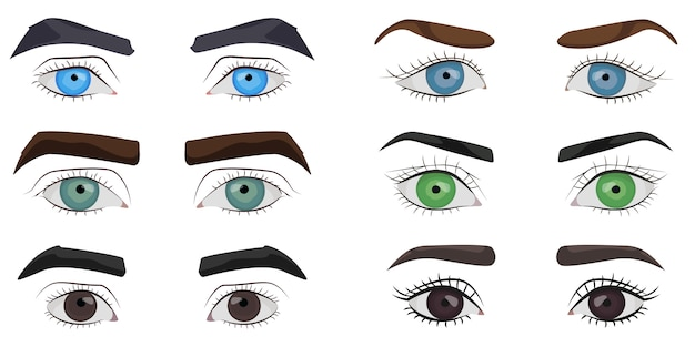 Set of male and female eyes collection