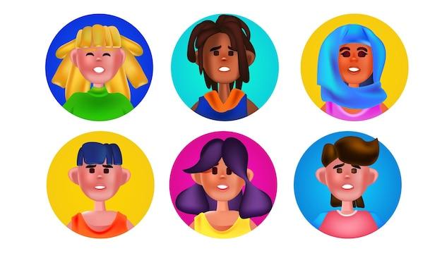 Набор мужских женских голов в круглых рамках смешать расы люди аватары коллекция герои мультфильмов портреты горизонтальные векторные иллюстрации