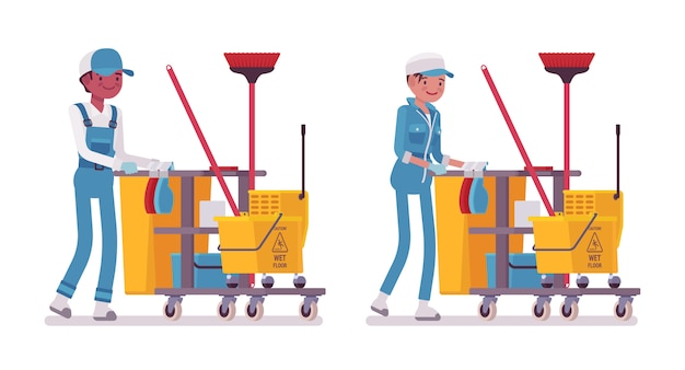 Set of male and female janitor pushing cart with tools