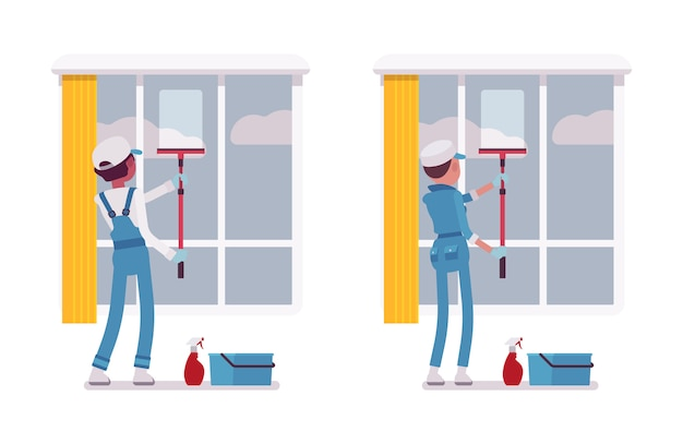 Set of male and female janitor window cleaning