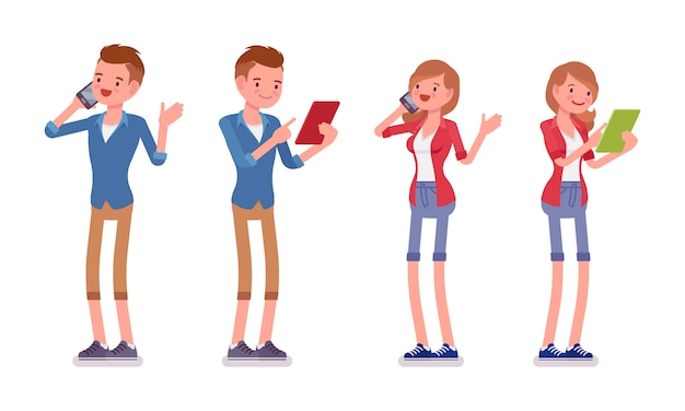 Set of male and female millennial standing with gadgets