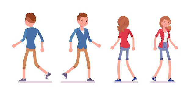 Set of male and female millennial in walking pose
