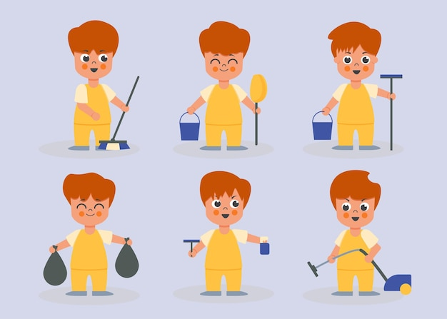 Set of male housekeeper in cartoon characters different actions, isolated   illustrition