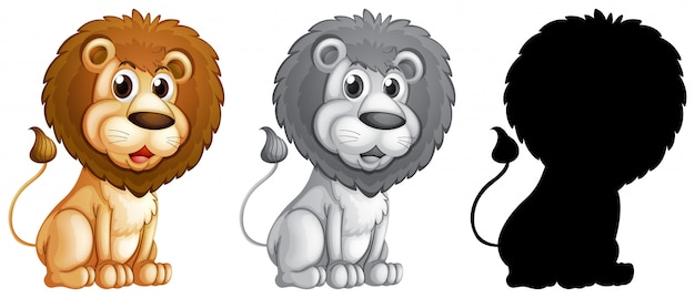 Set of male lion character