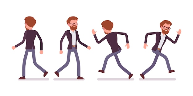 Set of male manager in walking, running poses, rear, front view