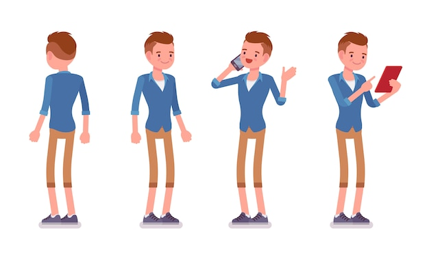 Set of male millennial in standing pose