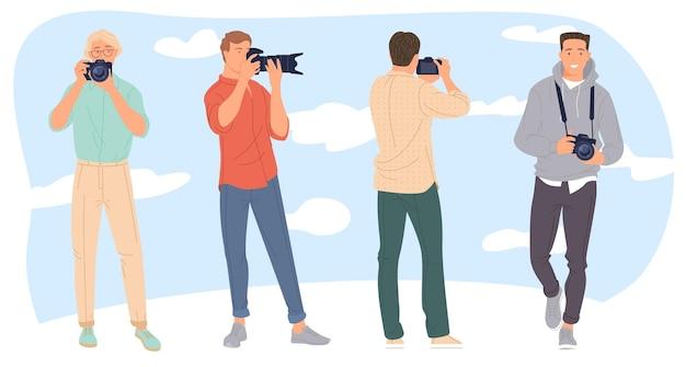 Set of male photographers