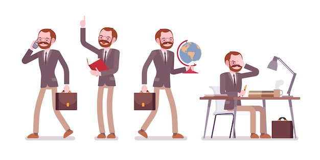 Set of male professional teacher in school scenes