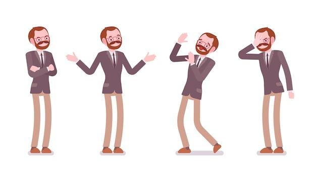 Set of male professional teacher showing negative emotions