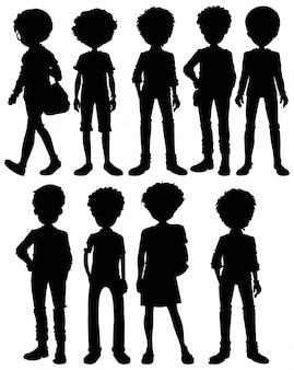 Set di silhouette maschile