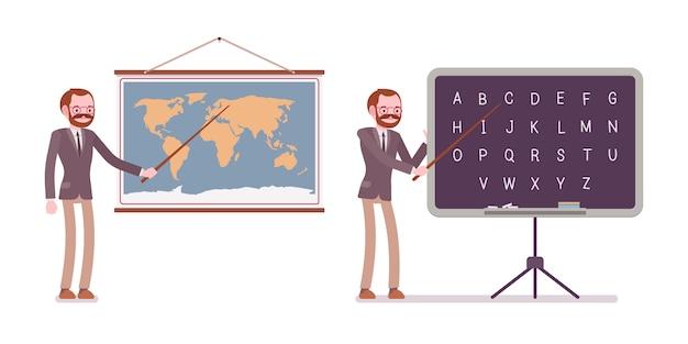 Set of male teacher near the map, blackboard