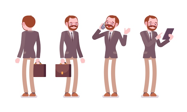 Set of male teacher in standing poses, rear, front view