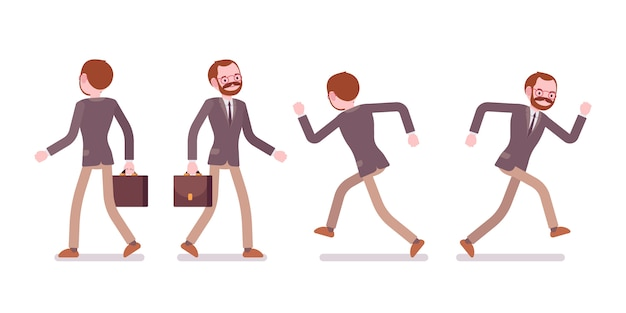 Set of male teacher walking and running, rear, front view