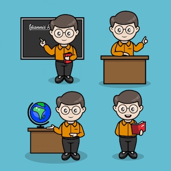 Set of male teacher with multiple teaching pose