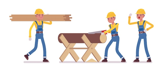 Set of male worker working with timber and wood cut
