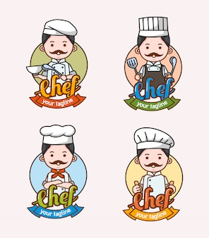 Set of man chef character with different clothes and pose used for logo and mascot
