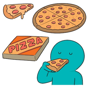 Set of man eating pizza