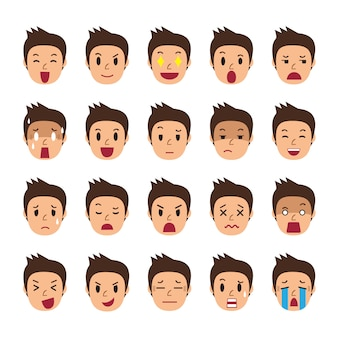 Set of a man faces showing different emotions