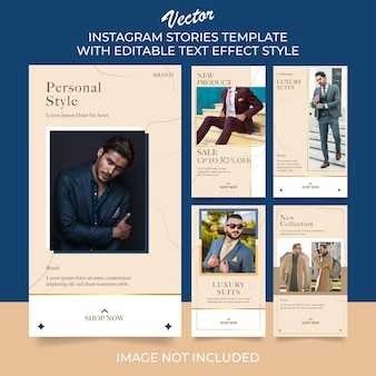 Set of man fashion instagram stories post template