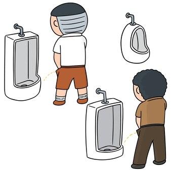 Set of man peeing