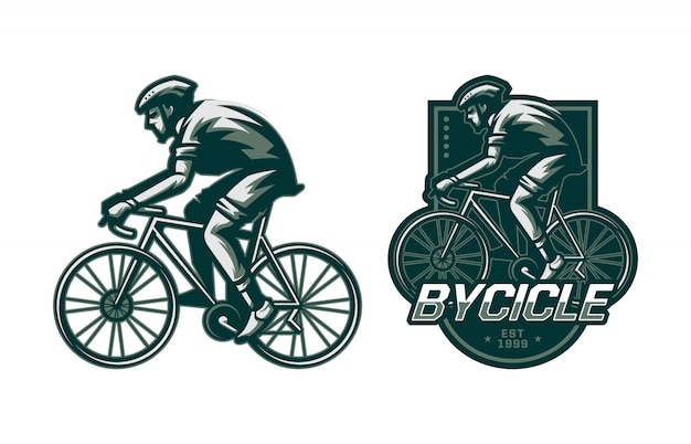 Set of man riding bycicle badge