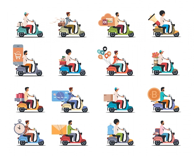 Set man riding scooter different concepts collection isolated flat