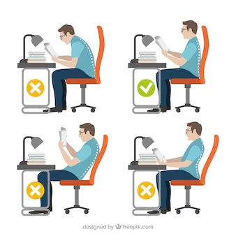 Set of man sitting correctly and incorrectly