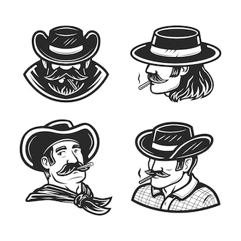 A set of a man smoking in black and white drawing   illustration