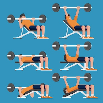 Set of man in weight training chest workout poses. incline, decline chest press and barbell bench press.