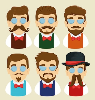 Set of man with glasses, mustache and tie bow