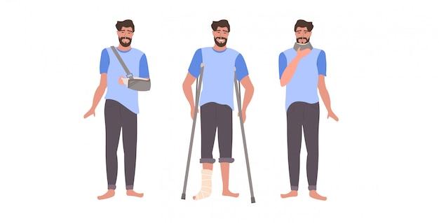 足の腕と首の損傷を負傷した男を石膏でセットし、襟の壊れた手足コレクションを平らな全長水平に固定する