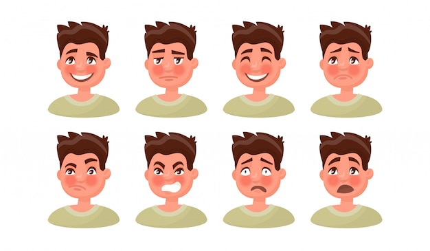 Set a man with a variety of emotions.