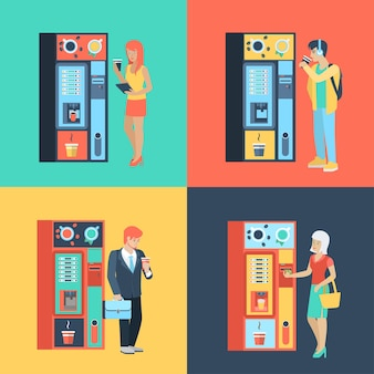 Set di uomo donna prima macchina automatica del caffè. persone piatte stile di vita situazione pausa caffè. illustrazione raccolta di giovani esseri umani creativi.