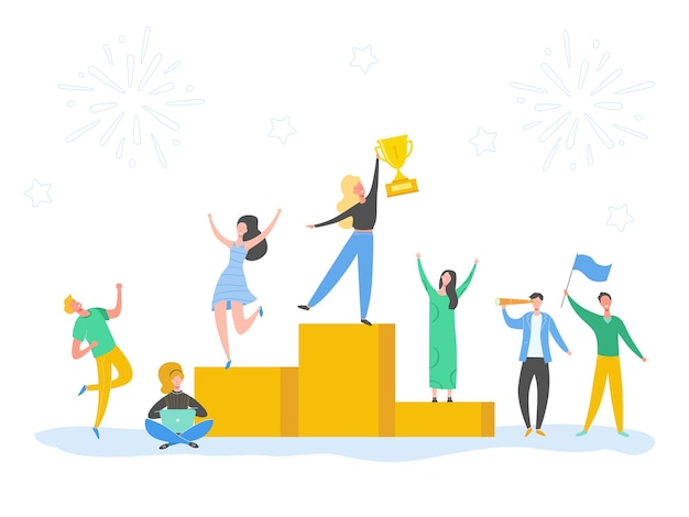 Set of man and woman celebrating victory, achieving reward, prize. people success concept illustration. business leader characters. businessman and businesswoman winning trophy