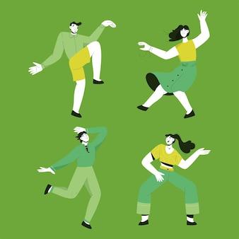 Set of man and woman dancing