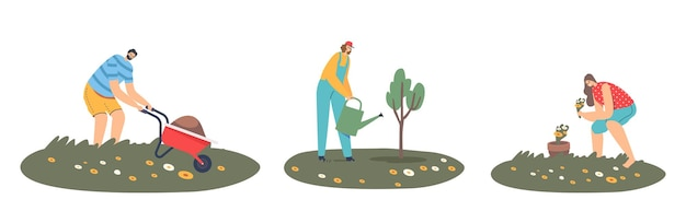 Set of man or woman farmers working in garden, care of plants, grow vegetable, watering trees, remove soil on wheelbarrow. gardener characters work at country ranch. cartoon people vector illustration