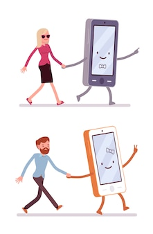 Set of man and woman walking with smartphone