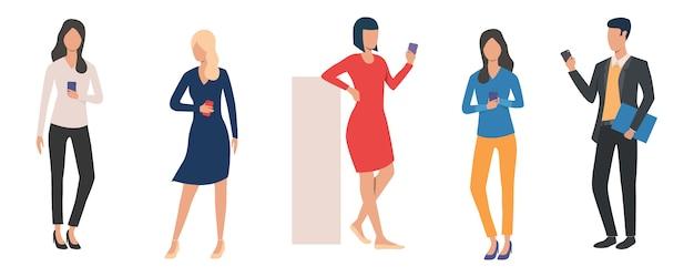 Set of man and women holding smartphones