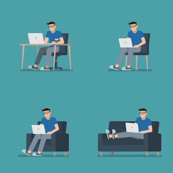 Set of man working on laptop sitting at desk, on chair, armchair and lying on sofa in flat cartoon style