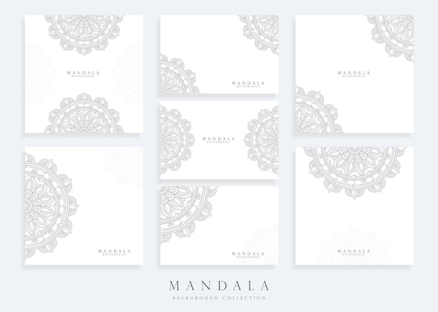 Set of mandala background template and mandala card template