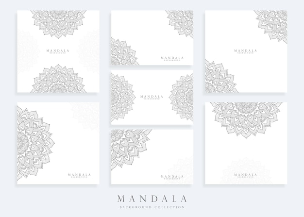 Set of mandala background template with mandala card template