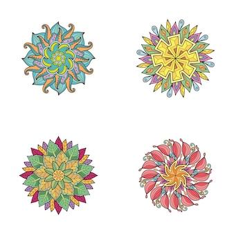 인쇄 디자인을 위한 만다라 디자인 색상 설정