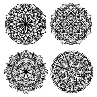 Set of mandala hand drawn in black and white