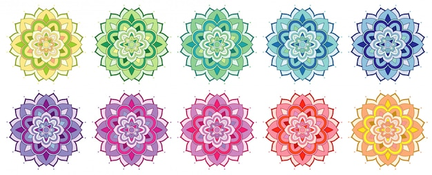 Set of mandala patterns in many colors