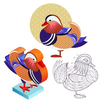 Set mandarin duck image in different styles.