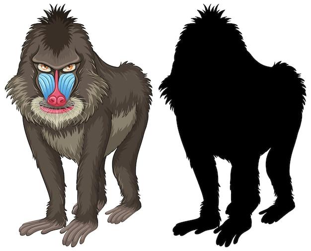 Set di caratteri mandrillo e la sua silhouette