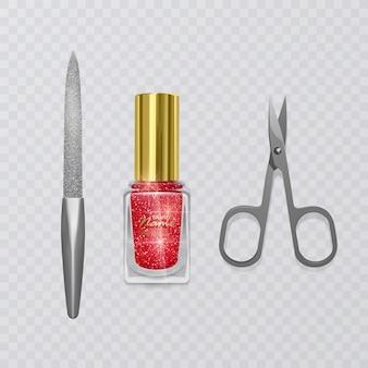 Set of manicure accessories, illustration of manicure scissors