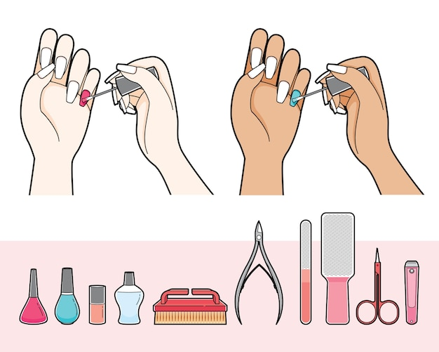 Set of manicure and equipments for nail salon, woman painting nail polish on her nail